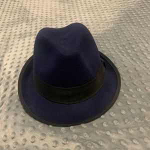 Navy blue 100% wool fedora